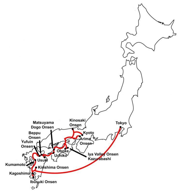 Western Japan Onsen Tour Map